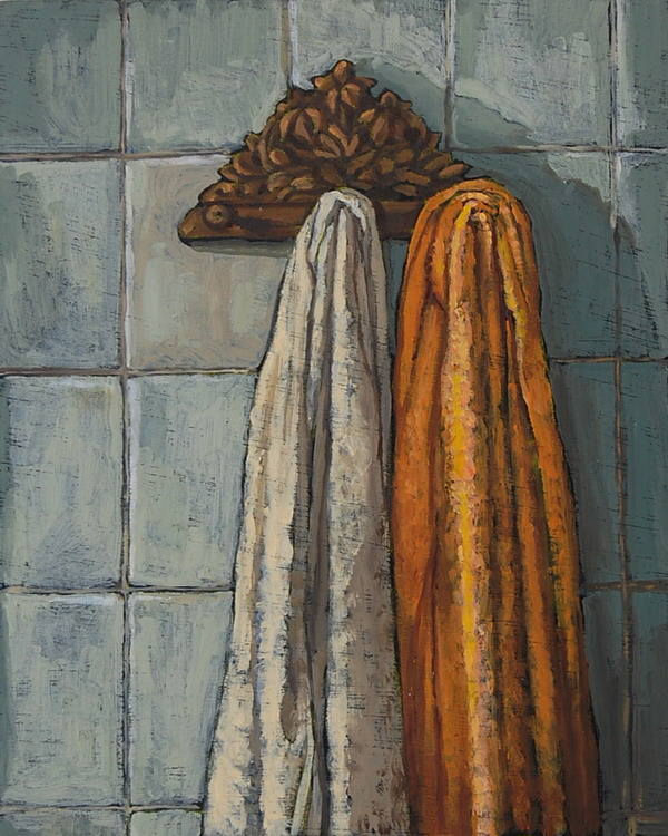Bathroom towels, oils on panel  25 x 13 cm